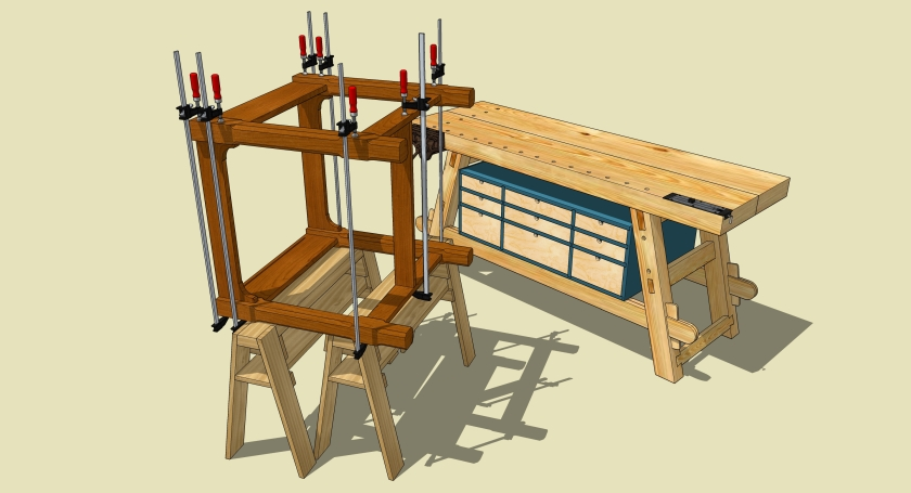A nice image; no blur, but the workbench serves no purpose in this image. Also, there are too many clamps.