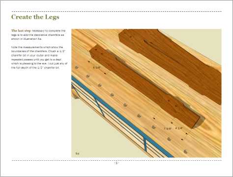 Page 5 - completing the legs by drilling holes.