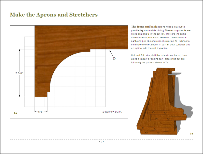 Page 7 - creating the front and back aprons.