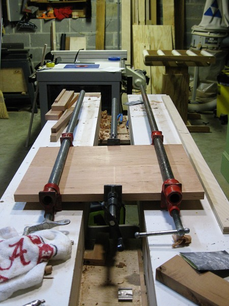 Glue-up of two small cherry boards.