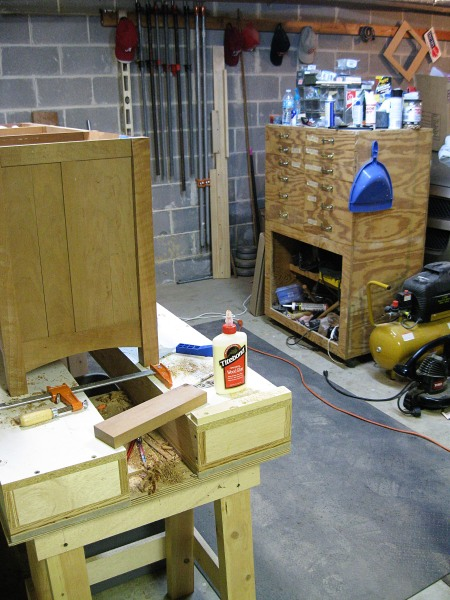 My messy tool cabinet and pipe clamp area. I'll replace the tool cabinet next year.