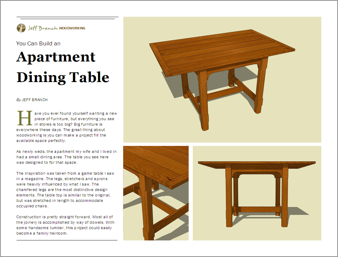 Free woodworking plan small dining table jeff branch for Free dining table plans