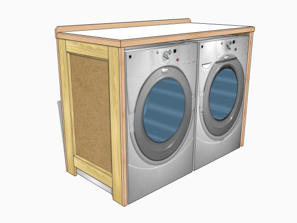A quick project - a utility table to fit around a washer and dryer.