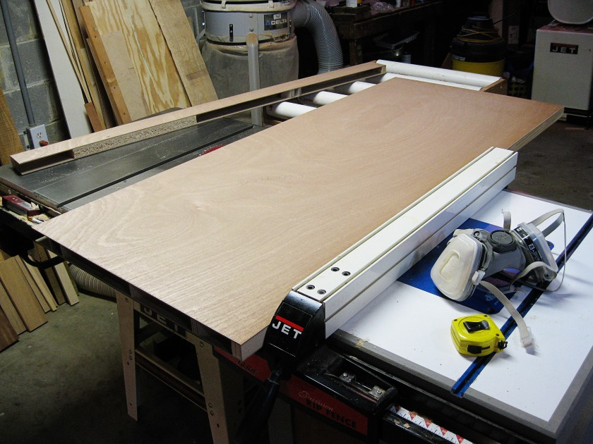 Turning a door into a table top.