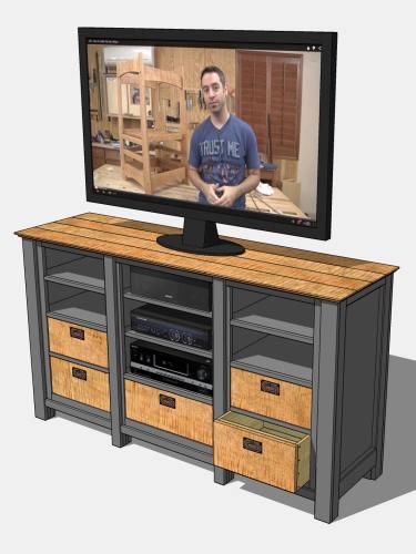 Revised media cabinet design (TV image is of woodworker Marc Spagnuolo).