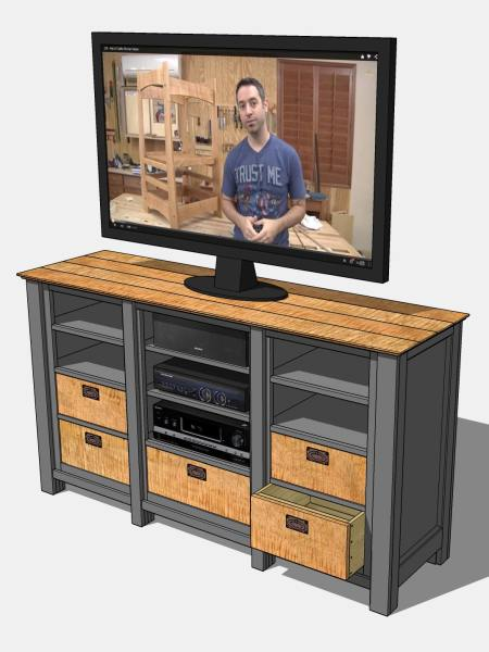 Revised media cabinet design (TV image is of woodworker Marc Spagnuolo).