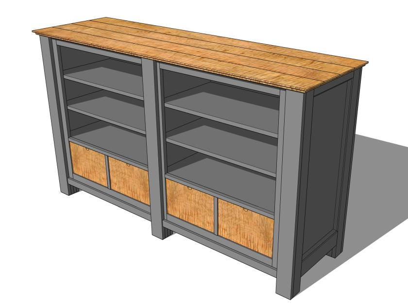 Large Media Console Gray