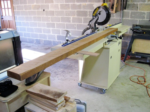 My miter saw and stand handled this plank with ease.