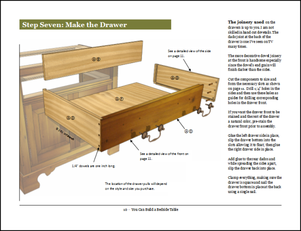 Making the drawers, page 10.