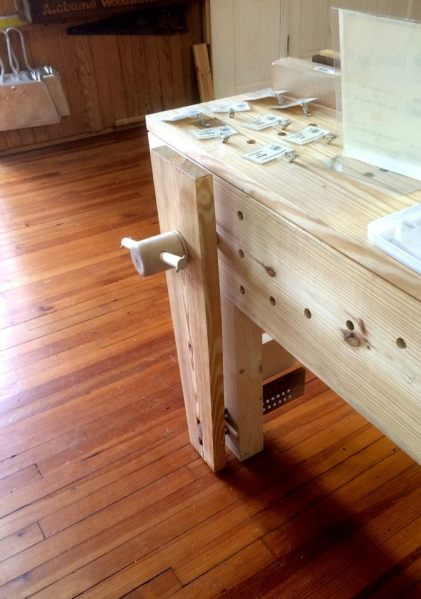 A close-up of the leg vise on their Nicholson bench.