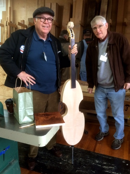 Show and tell - an upright electric bass under construction. Beautiful work.