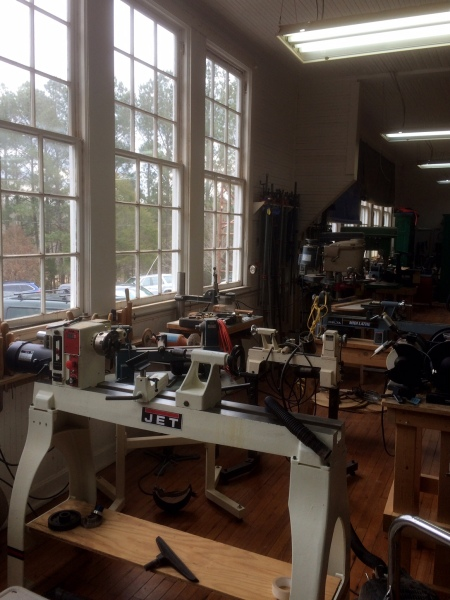 Lathe area awash in natural light.