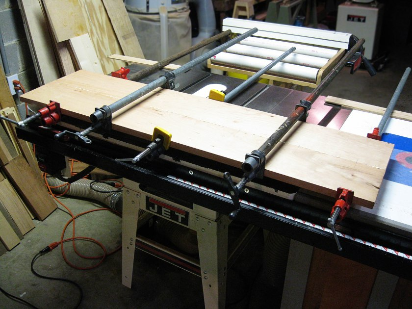 The two boards which will form the seat glued-up.