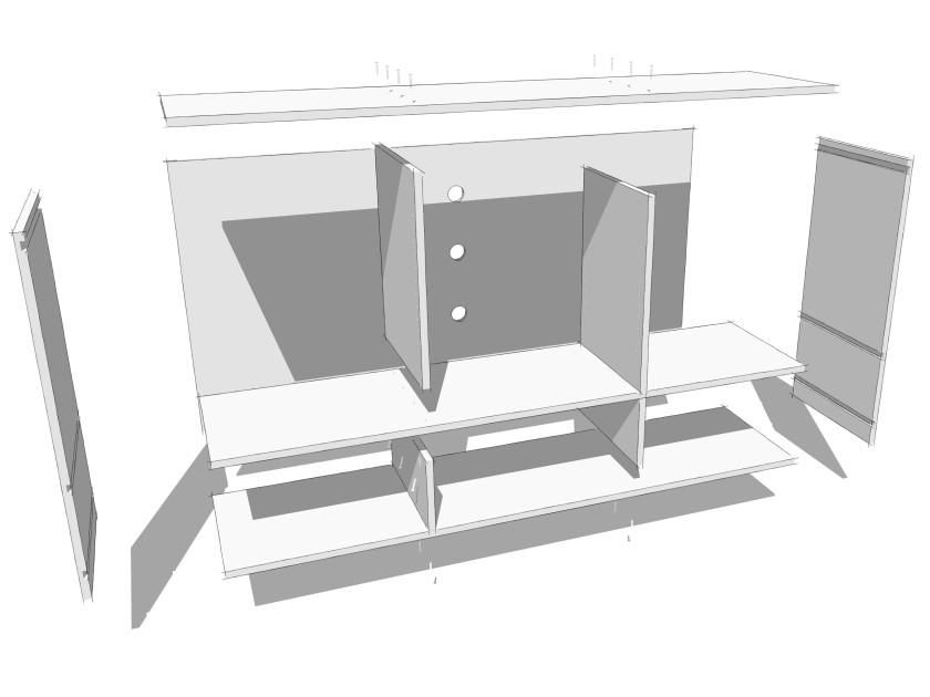 The exploded view of my media cabinet with Sketchy edges.