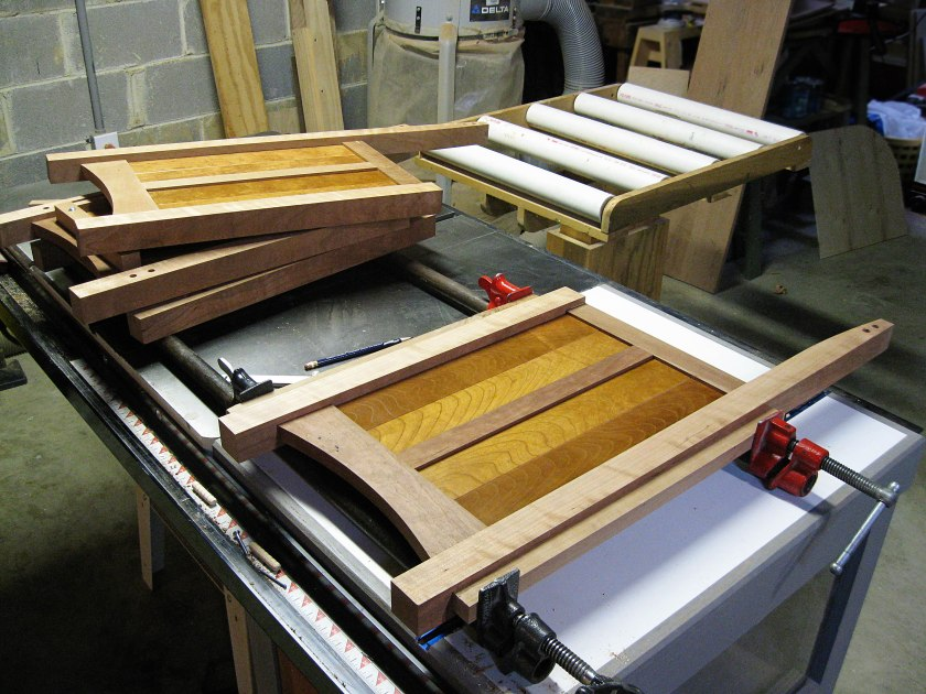 Sides and dividers; three completed and one still clamped up.