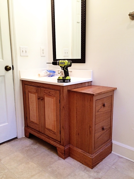 Oak and maple vanity.