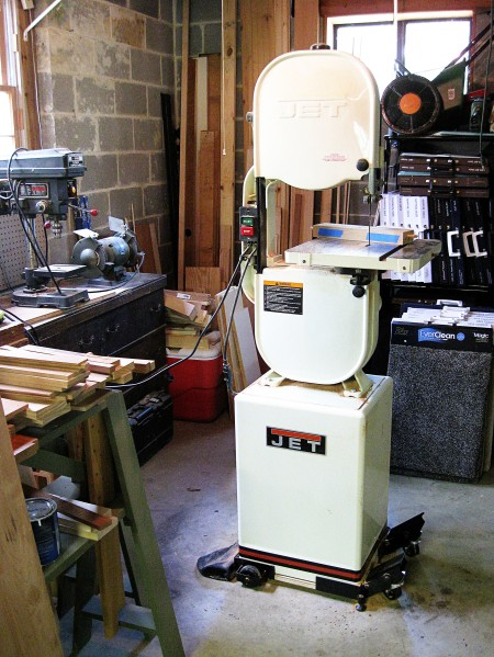 A rare shot of the back corner of my workshop. I'll use my bandsaw to make cuts two and three.