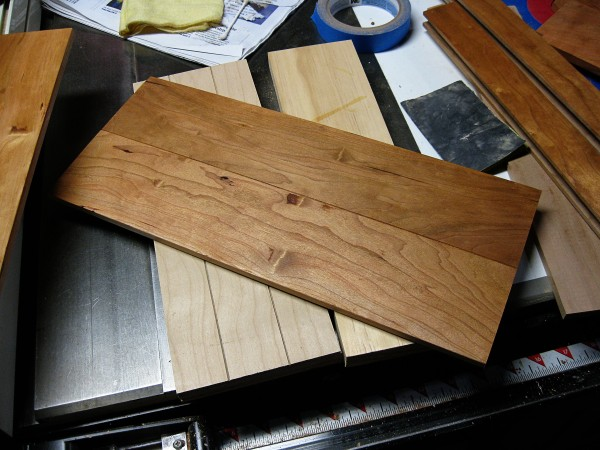 Cherry board filled with dust/poly putty.