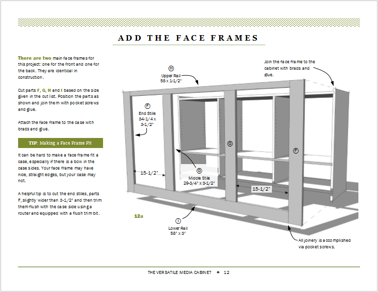 Page 12: Creating the front face frame.