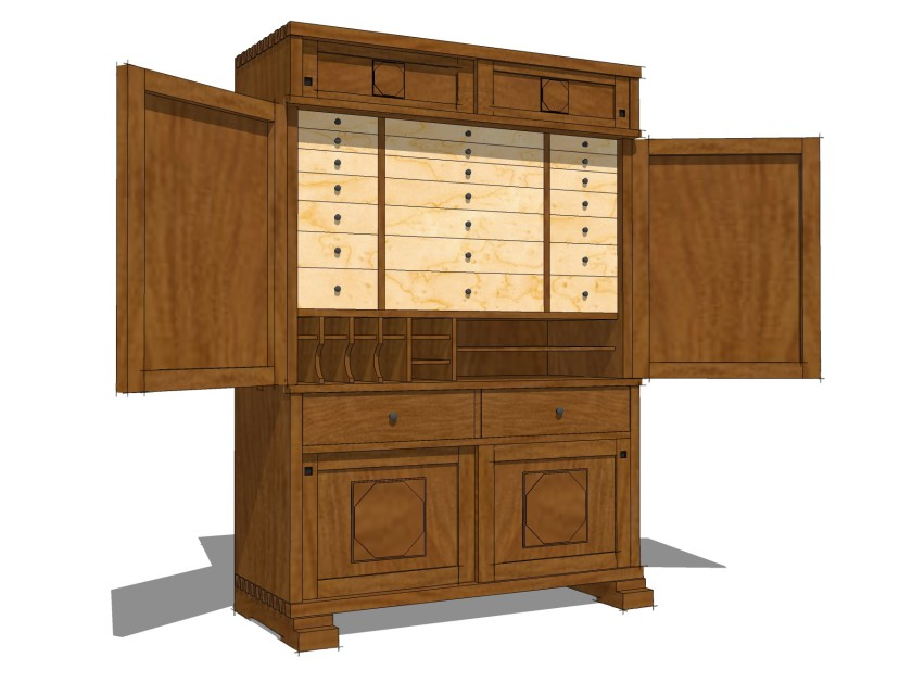 Trevor Hadden English Arts and Crafts Tool Cabinet.