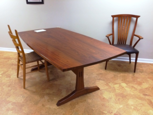 In the Bogg's showroom: table and chairs with a modern flair.