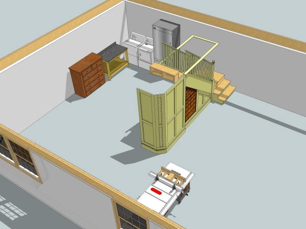 An incomplete SketchUp model of my workshop.