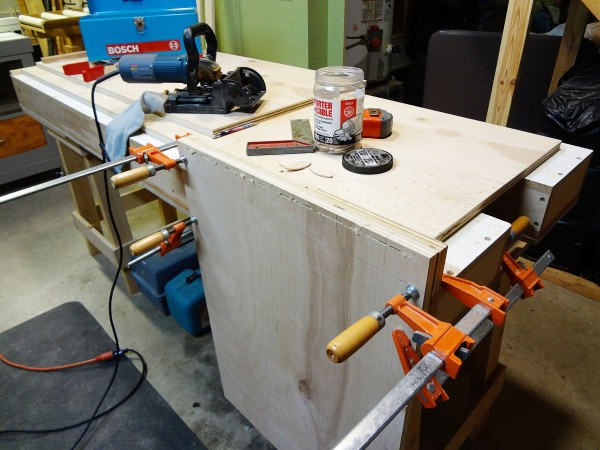 Making the bottom to sides joinery.