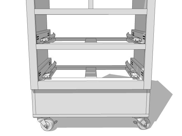 I'll use metal drawer slides for the bottom two drawers (I did not create the metal slides; got those from the 3D Warehouse).