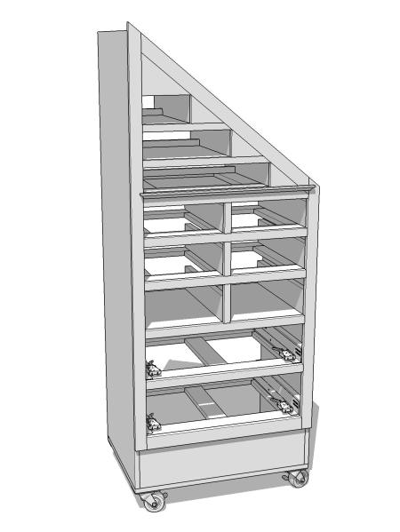 The tool cabinet without the drawers and back.