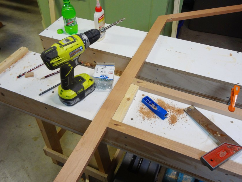 Here, I am using pocket hole joinery to bring face frame components together.