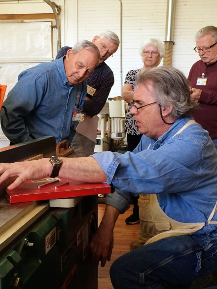 Discussing ways to get fine cuts at the jointer.