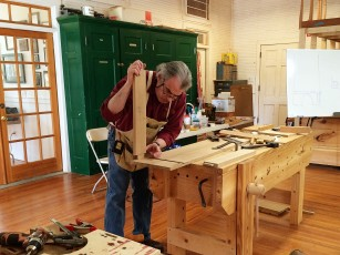 Fitting an apron tenon to a through mortise.