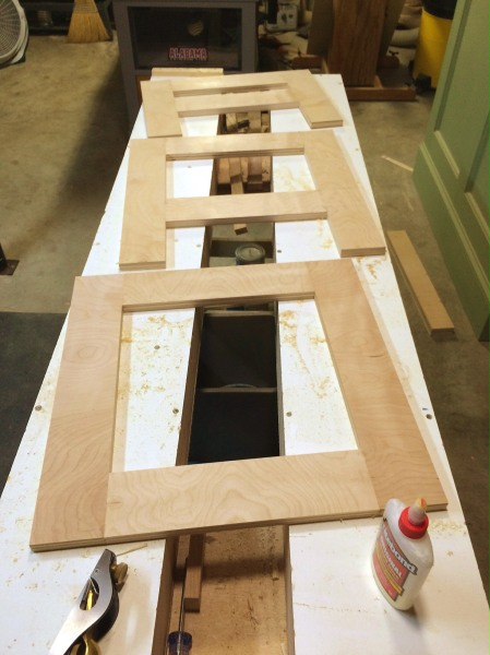 The completed web frames for the upper cabinet.