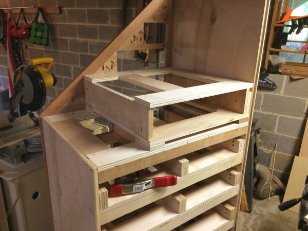 Working on the upper cabinet frame-work.
