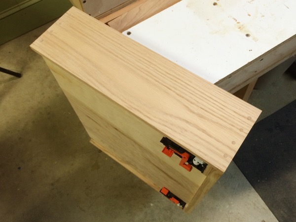 A completed drawer side after sanding.