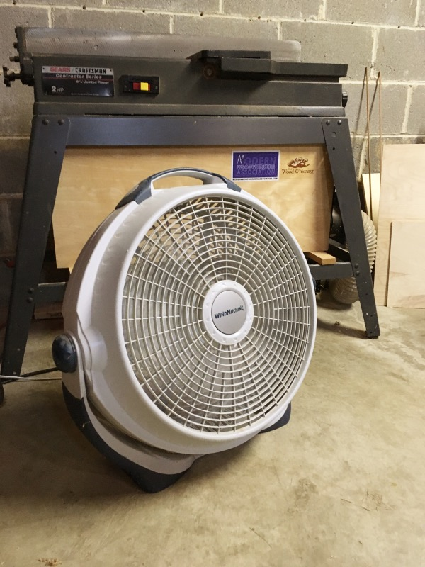 An important shop tool this summer - my fan (my jointer has been important too).