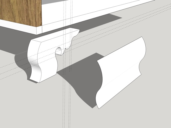 Here, I am about to position the ogee profile for the front of the bracket foot.