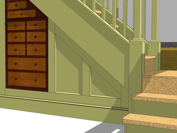 SketchUp image of the area right of the tool cabinet.