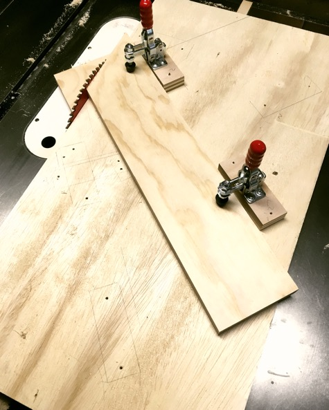 Using a simple jig to cut a precise angle.