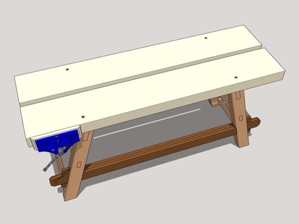Excellent Moravian Workbench Attaching The Top Adding The Gap Stop Dailytribune Chair Design For Home Dailytribuneorg